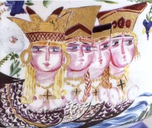Фрагмент росписи миски с крышкой