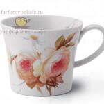 Фарфоровый бокал (кружка) для завтрака «Английские розы». KPM Berlin