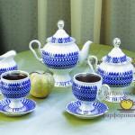 Фарфоровый чайный сервиз Татьяна, декор Сапфир. Мануфактура Гарднеръ в Вербилках