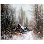 Пейзаж «Домик в заснеженном лесу». Масло, холст, худ. Сергей Рязанов