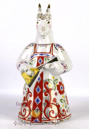 Штоф фарфоровый Коза с балалайкой, подарок в русском стиле. Промыслы Вербилок