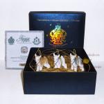 Набор фарфоровых новогодних ёлочных украшений (игрушек) из 3-х предметов «Козлята». Мануфактуры Гарднеръ, Вербилки
