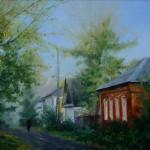 Пейзаж «Осенняя улица. Углич». Масло, холст, худ. Сергей Рязанов