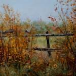 Пейзаж «Плетень. Осень». Масло, холст, худ. Сергей Рязанов
