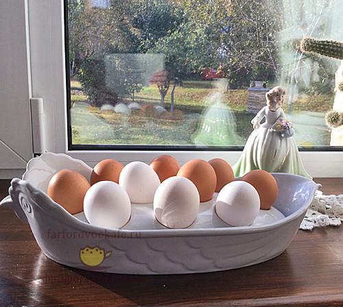 Блюдо для птицы с лотком для пасхальных яиц «Курочка Ряба», белое. Промыслы Вербилок