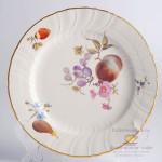 Фарфоровая десертная тарелка Neuosier, исторический декор N65 «Цветы и фрукты». KPM Berlin