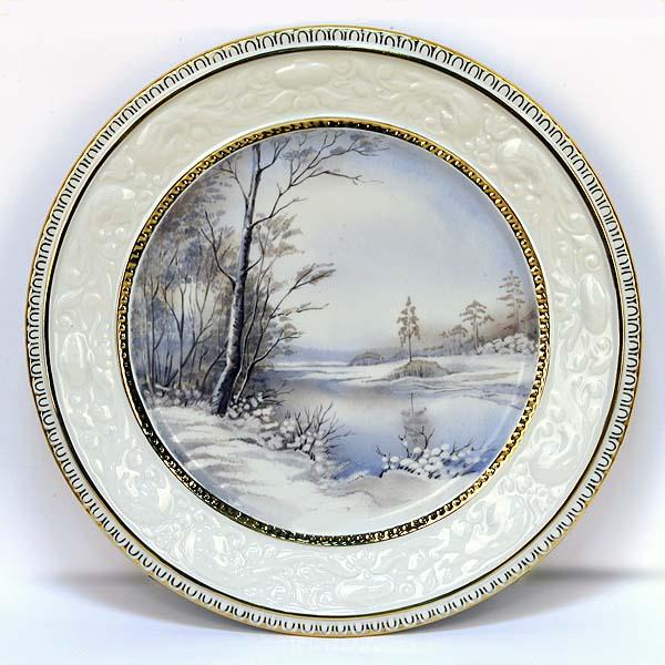 """Настенная тарелка """"Первый снег"""", живопись по фарфору. Мануфактура Гарднеръ"""