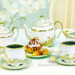 Фарфоровый чайный сервиз Кузнецовский «Позолота». Мануфактура Гарднеръ в Вербилках