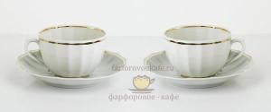 "Чайный набор на 2 персоны ""Золотая лента"", форма ""Ампир"", фарфор, Гарднеръ, Россия"