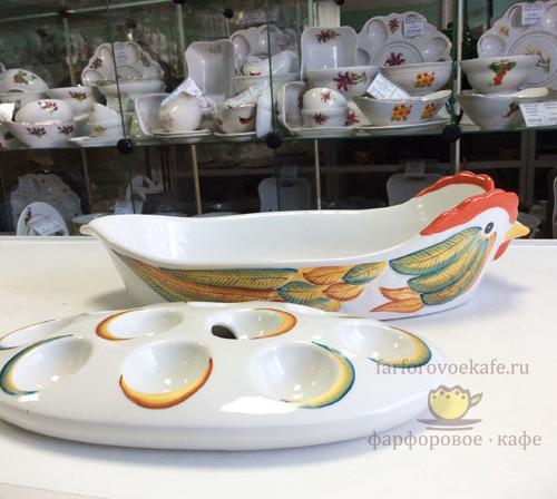 Блюдо для птицы с лотком для пасхальных яиц «Курочка Ряба шелковые перышки», новый дизайн. Промыслы Вербилок