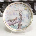 Коллекционная фарфоровая настенная тарелка живописная «Праздник на Руси». Мануфактуры Гарднеръ, Вербилки