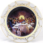 Православный подарок фарфоровая настенная тарелка, блюдо  «Тайная вечеря», репродукция. Мануфактуры Гарднеръ, Вербилки