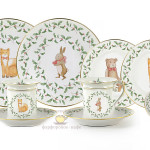 Фарфоровый кофейный набор детской посуды с настенными тарелками, на 3 персоны «Императорская сказка». Для детей и взрослых. Мануфактуры Гарднеръ, Вербилки