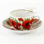 """Пара: чашка чай/кофе, блюдце """"Маки"""", 410 руб/сут"""