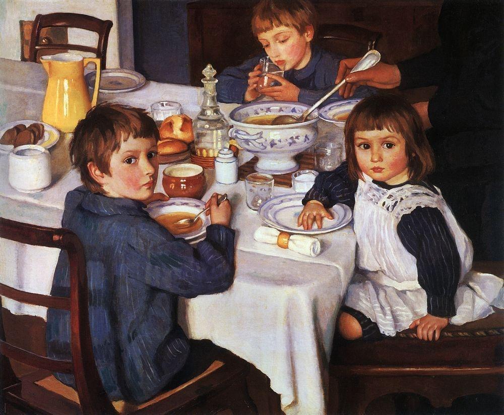 """Зинаида Серебрякова """"Дети за завтраком"""", 1914 г."""