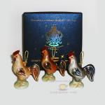 Набор новогодних фарфоровых елочных украшений из 3-х предметов «Петушки». Мануфактура Гарднеръ в Вербилках